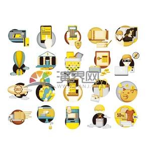 黄色商务金融消费图标元素合集
