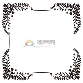 花朵黑白樹葉正方形邊框鏡框展示框底框