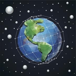 幾何圖形多邊形三角形立體色彩地球星球