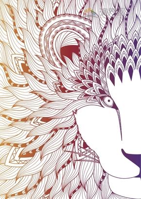 彩色鳳凰鳥花紋裝飾設計
