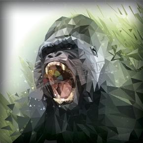 幾何圖形多邊形三角形立體色彩動物大猩猩