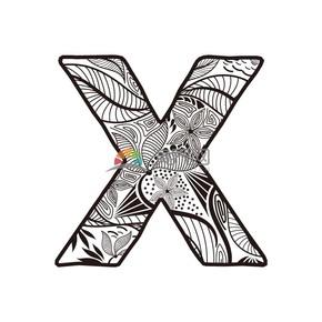 简约创意设计线条流畅实用花纹装饰英文字母X图案