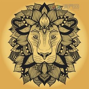 夕阳红狮子花纹装饰设计