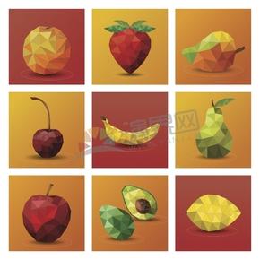 幾何圖形多邊形三角形立體色彩水果橘子草莓芒果櫻桃香蕉梨蘋果檸檬