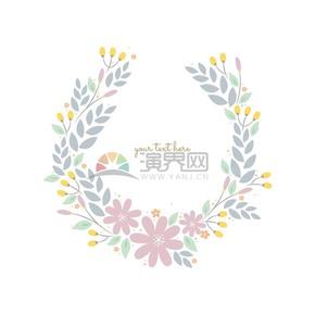 清新花卉花環裝飾素材