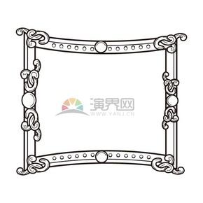 黑白板画风古典花纹边框