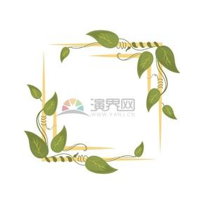 樹葉花紋藝術邊框