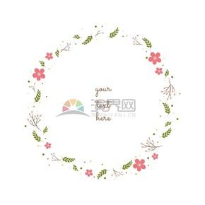 清新花卉裝飾圓形花環