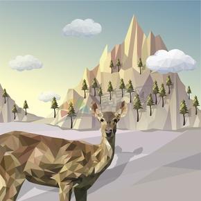 幾何圖形多邊形三角形立體色彩沙漠山峰鹿