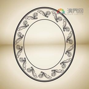 黑色椭圆形创意古典简约设计实用花纹装饰边框