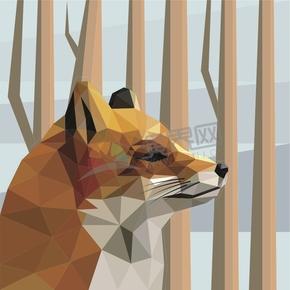 几何图形多边形三角形立体色彩雪地狐狸