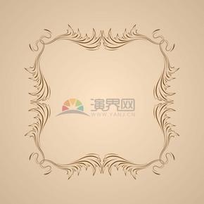 手绘风复古花纹边框设计