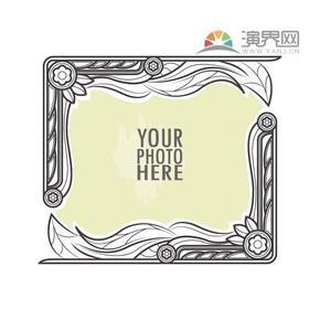 黑色方形古典简约设计线条流畅实用花纹装饰边框相框