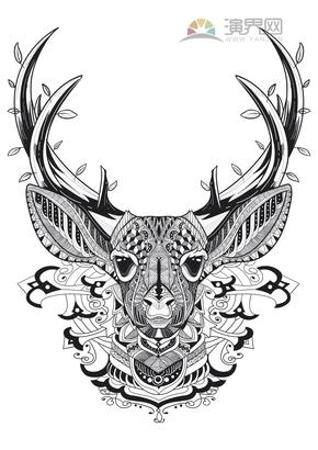 卡通鹿创意花纹装饰设计