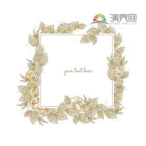 黄色创意古典叶子方形简约设计实用花纹装饰边框