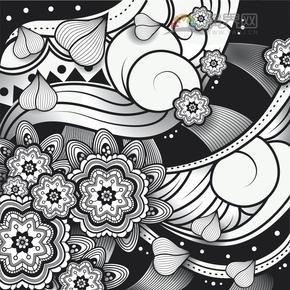 黑色线条特色花朵花纹装饰设计