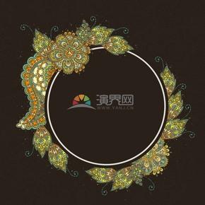 创意图形简约设计线条流畅实用花朵植物叶子花纹装饰边框图案