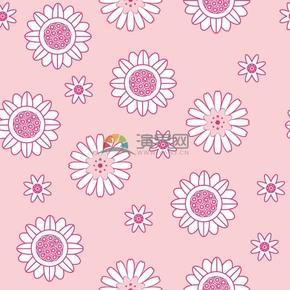 粉色花朵简约创意设计线条流畅实用花纹装饰背景图案