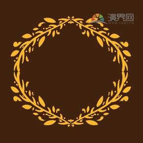 黄色叶子创意圆形古典简约设计线条流畅实用花纹装饰边框