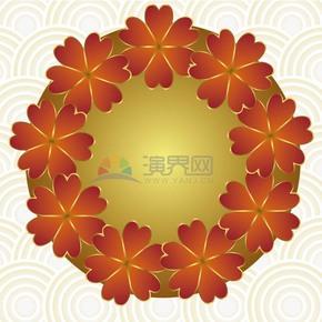 圆形底纹背景红色小花素材