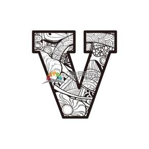 黑白自植物底纹字母V矢量图图标