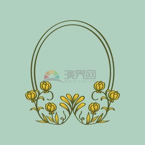 花紋花卉藝術邊框