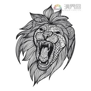 咆哮的狮子花纹装饰设计
