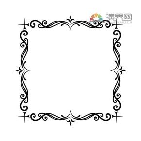 黑色创意方形古典简约设计线条流畅实用花纹装饰边框