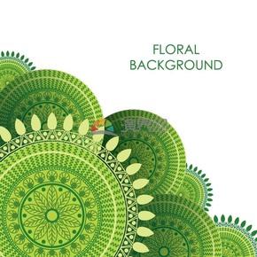 简约设计绿色叶子圆形实用花纹装饰图案