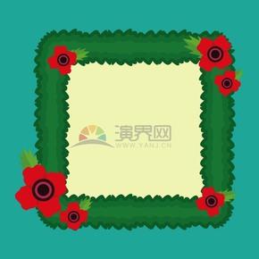 小花裝飾綠色邊框