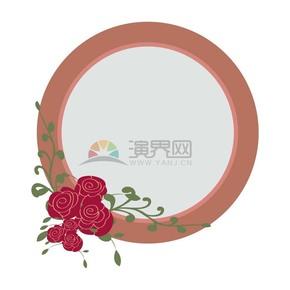 玫瑰花装饰圆形镜框