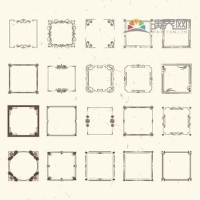 黑色方形创意古典简约设计实用花纹装饰边框合集
