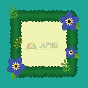花朵装饰绿色边框