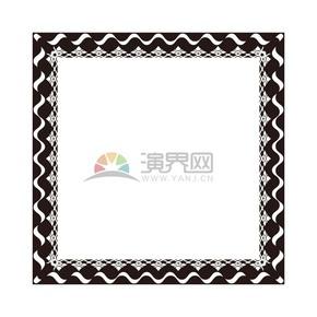 黑色正方形花纹条纹边框底框展示框