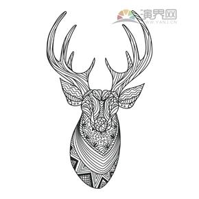 花鹿创意花纹设计