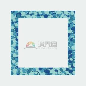 蓝色抽象泼墨边框