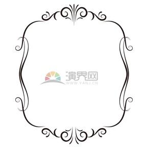 黑色花纹艺术边框
