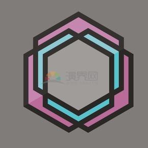 卡通风格六边形组合边框