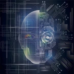 科技芯片電路板集成電路線條圓形人臉眼睛