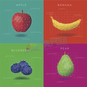 幾何圖形多邊形三角形立體色彩水果蘋果香蕉藍莓生梨