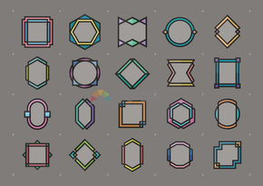 卡通風格幾何圖形邊框集合