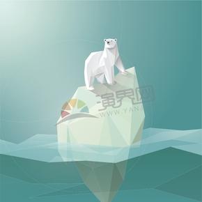 幾何圖形多邊形三角形立體色彩北極熊冰川融化