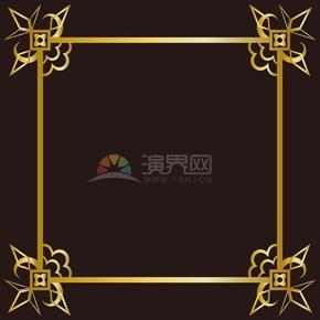 黑色暗金玫瑰對稱正方形邊框底框展示框畫框