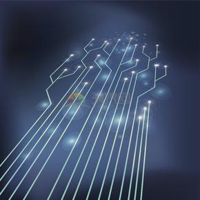 科技芯片電路板集成電路線條圓形樹脂分叉立體