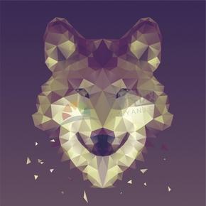 幾何圖形多邊形三角形立體色彩動物狼狗