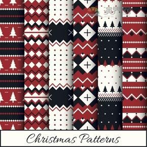 红色圣诞节边框底纹创意设计