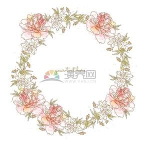彩色手繪花卉花環素材