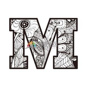 黑白自植物底纹字母M矢量图图标