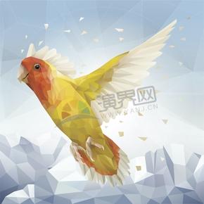 幾何圖形多邊形三角形立體色彩動物鸚鵡