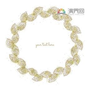 黄色创意古典叶子简约设计实用花纹装饰边框